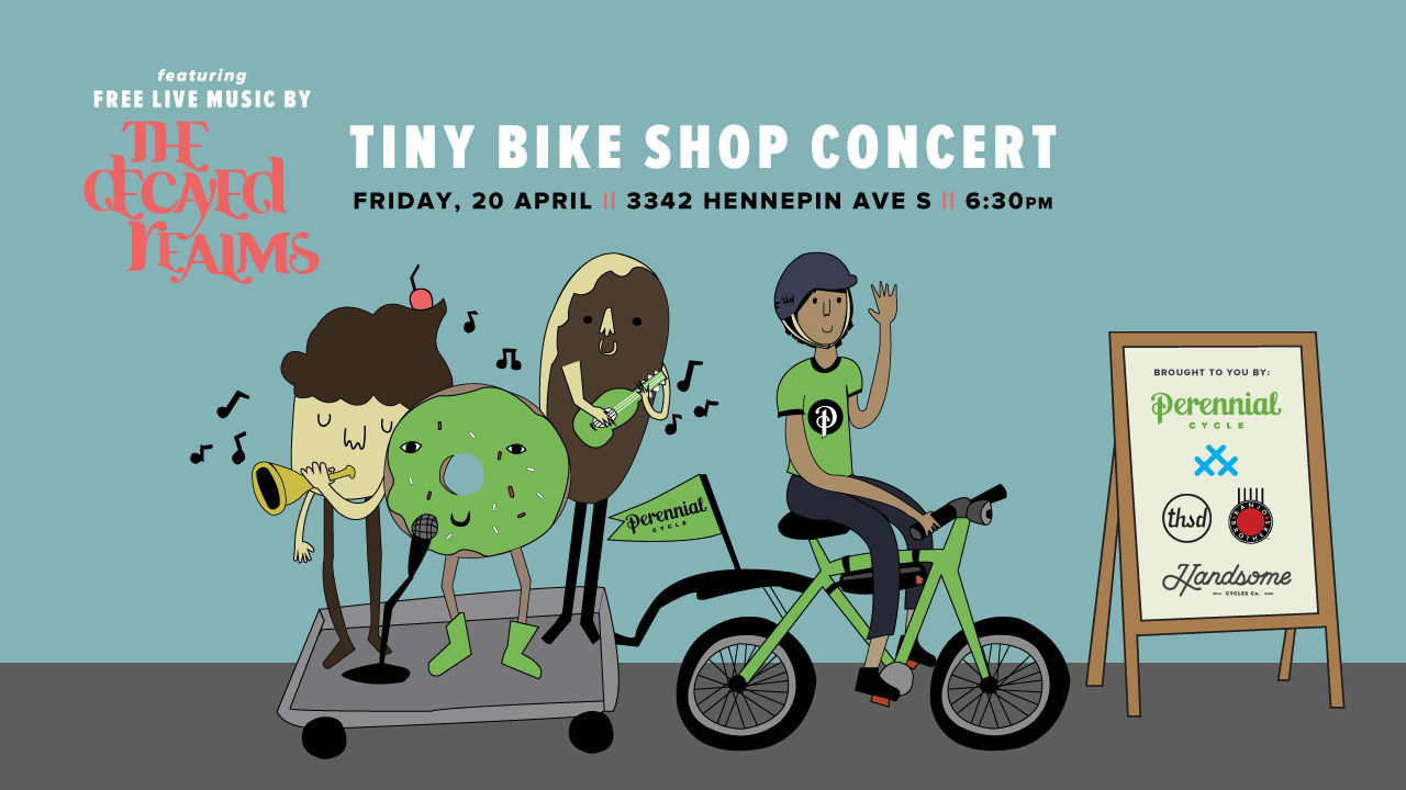 April Tiny Bike Shop Concert at Perennial Cycle in Minneapolis