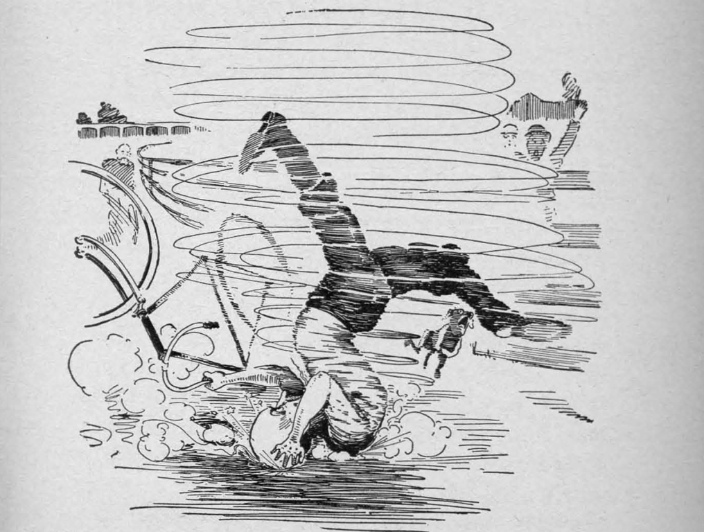 black and white illustration of a bicycle crash