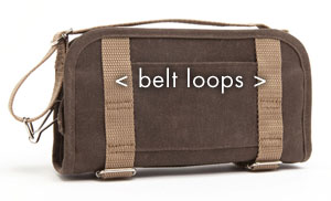 Po Campo Wristlet (back) with space for inserting a belt