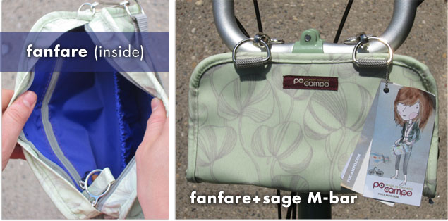 po campo fanfare wristlet mounted on a Brompton folding bike