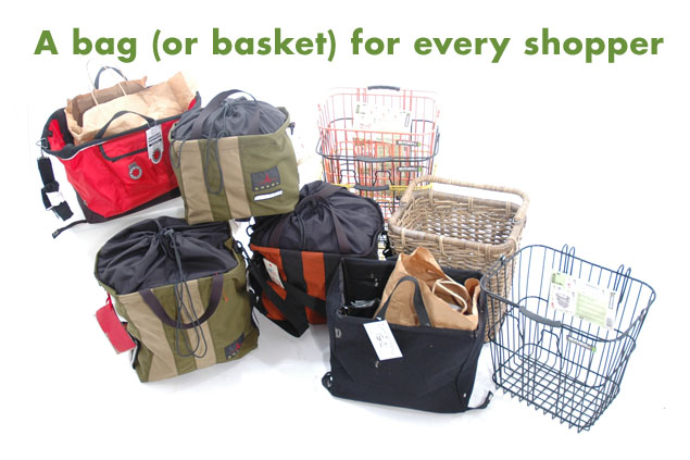 A sampling of grocery panniers and baskets from Calhoun Cycle