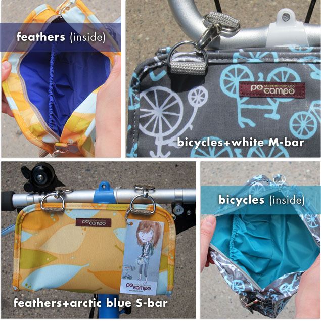 po campo feathers + po campo bicycles patterned wristlets mounted on Brompton folding bikes