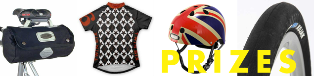 prizes include a Twin Six jersey, Nutcase Union-Jack Helmet, a Carradice Zipped Roll, and Kojak Tires