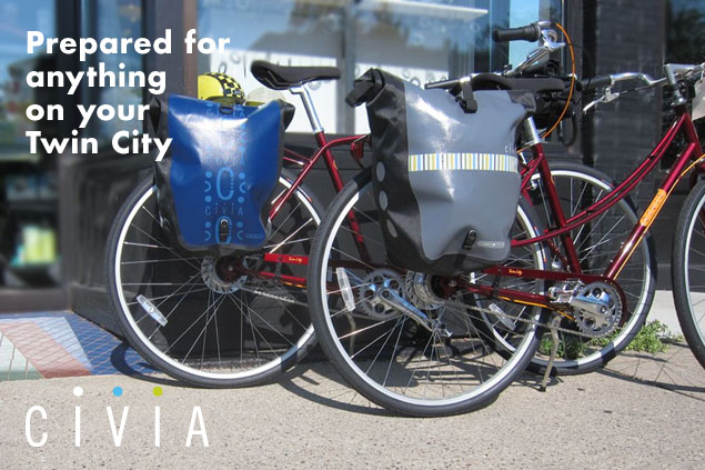 Back Roller Classic by Civia & Ortlieb mounted on two Civia Twin Cities