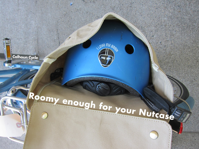 Even a L-XL Nutcase helmet fits in the Market Bag