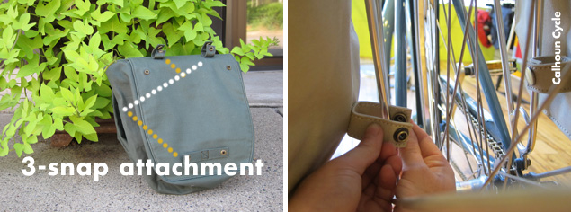 The Linus Market Bag's snaps are on the interior of the bags so that they easily attach to almost any rack. This photo shows how.