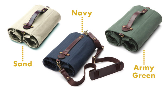 Sand, Navy, and Army Green Market Bags by Linus, rolled up for storage