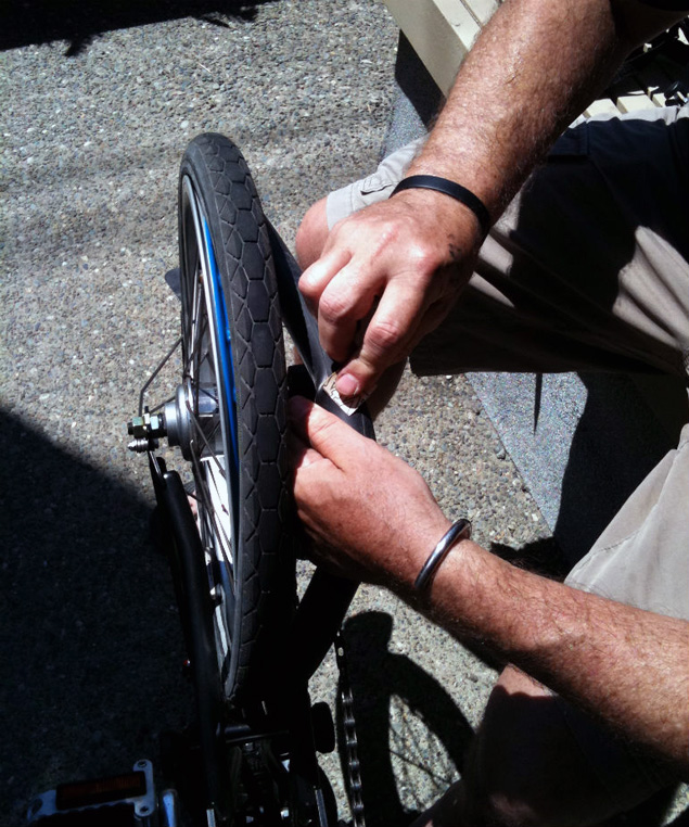 Patching inner tube without removing rear wheel