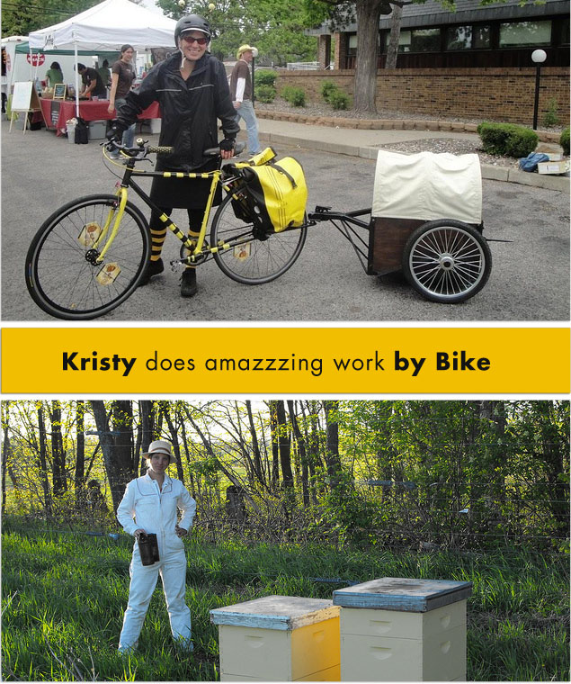 Kristy of the Beez Kneez does amazing work with Bees! by Bike!