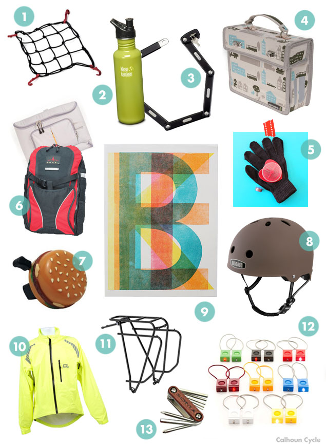 a selection of gift ideas for the bike commuting college student