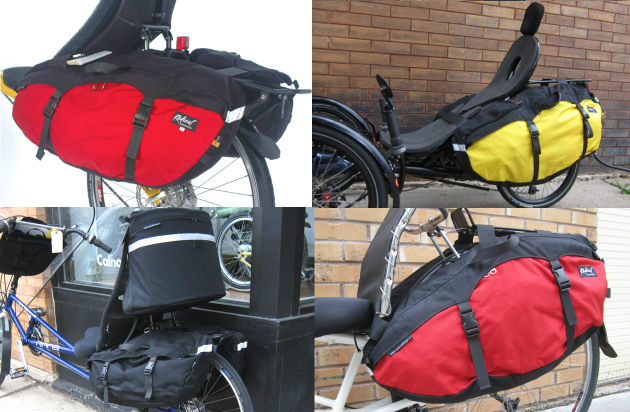 Radical Side Panniers come for narrow seats (top 2 images) and wide seats (bottom 2 images)