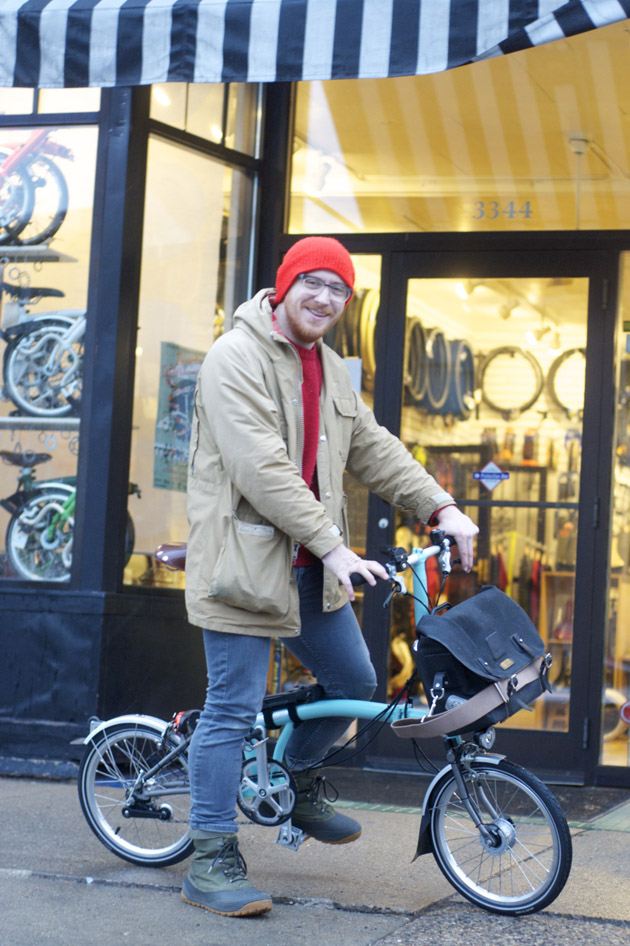 Patrick Stephenson picking up his S3L-X for #meetbrompton at Calhoun Cycle