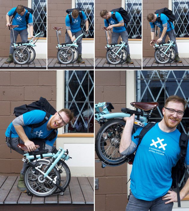 Folding a Brompton, step by step in pictures